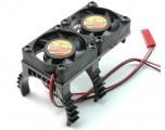 Super lehký chladič motoru s 2 větráčky - černý