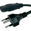 Síťový kabel HAWA 1008243, zástrčka (Švýcarsko) <=> IEC zásuvka, 2 m, černá