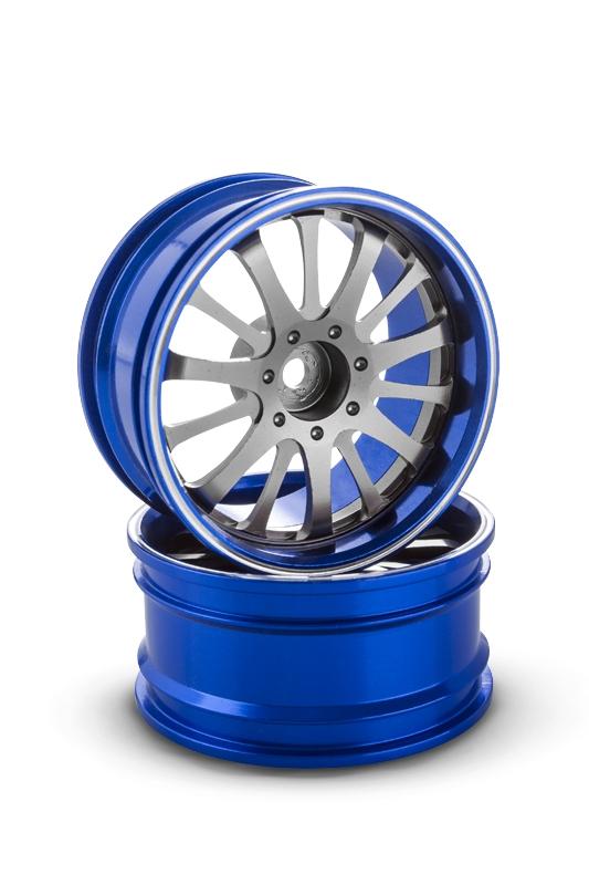 Hliníkový disk 14 paprsků, offset 6 mm - modrá barva (2 ks)